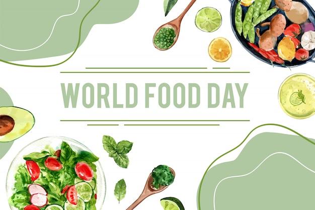 Welternährungstag rahmen mit erbsen, avocado, basilikum, gurkenaquarellillustration. Kostenlosen Vektoren