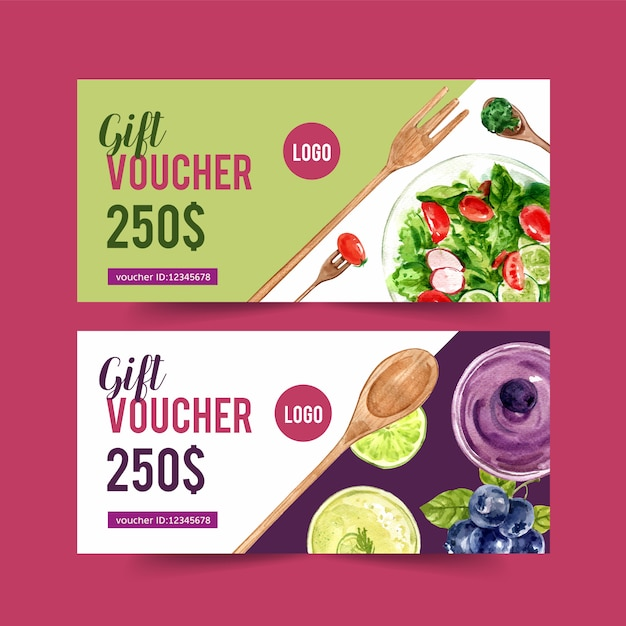 Welternährungstagesbeleg mit salat- und gemüseaquarell lokalisierte illustration. Kostenlosen Vektoren