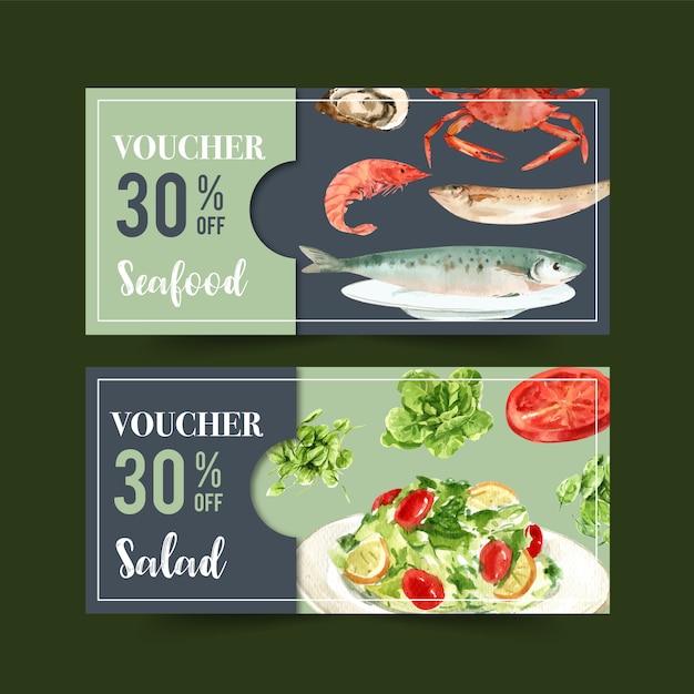 Welternährungstagesgutschein mit garnele, fisch, krabbe, butterkopf, tomatenaquarellillustration. Kostenlosen Vektoren