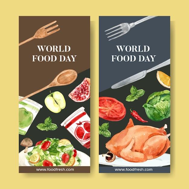 Welternährungstagflieger mit huhn, pfefferminz, salat, apfelaquarellillustration. Kostenlosen Vektoren
