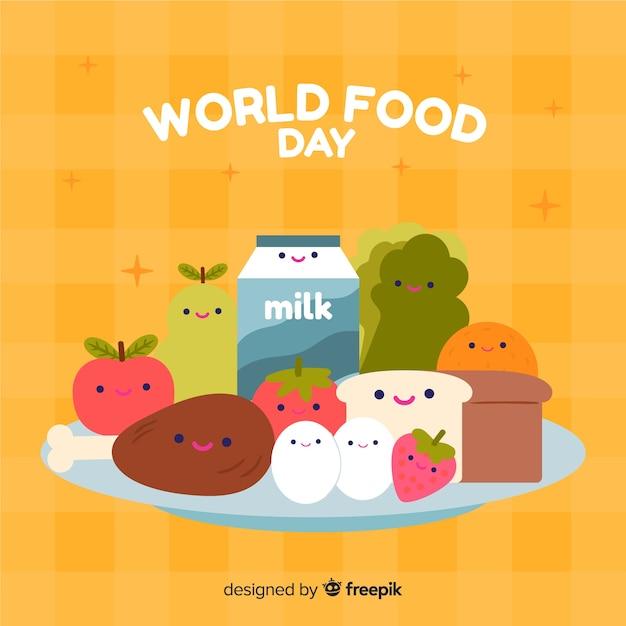 Welternährungstagkonzept mit hand gezeichnetem hintergrund Kostenlosen Vektoren