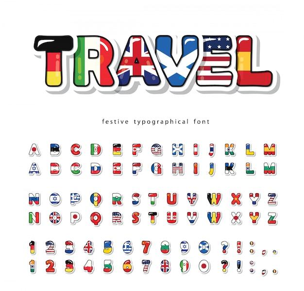 Weltflaggen-cartoon-schriftart. helles dekoratives alphabet. Premium Vektoren