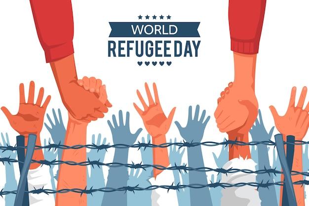 Weltflüchtlingstag in flachem design Kostenlosen Vektoren