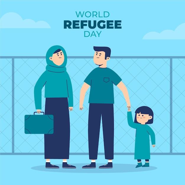 Weltflüchtlingstag mit familie Kostenlosen Vektoren