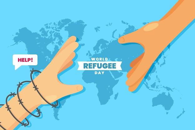 Weltflüchtlingstag mit händen über weltkarte Kostenlosen Vektoren