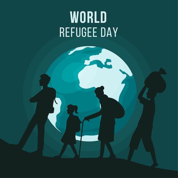 Weltflüchtlingstag mit silhouetten und planet erde Kostenlosen Vektoren