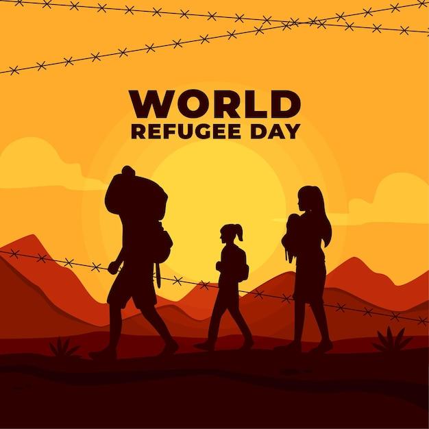 Weltflüchtlingstag mit silhouetten und stacheldraht Kostenlosen Vektoren