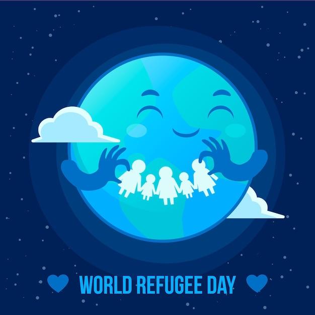 Weltflüchtlingstag Kostenlosen Vektoren