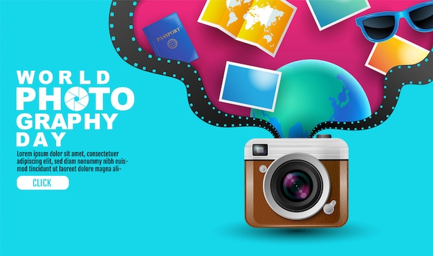 Weltfotografietag, ereignis, vintage-kamera, logo, typografie. Premium Vektoren