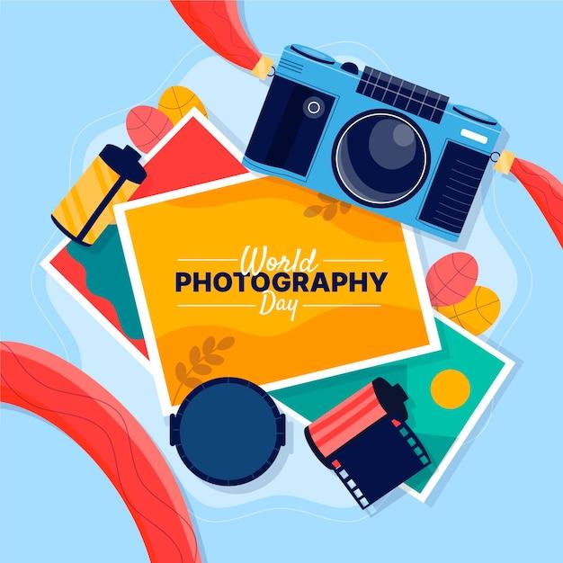 Weltfotografietag mit film und kamera Kostenlosen Vektoren