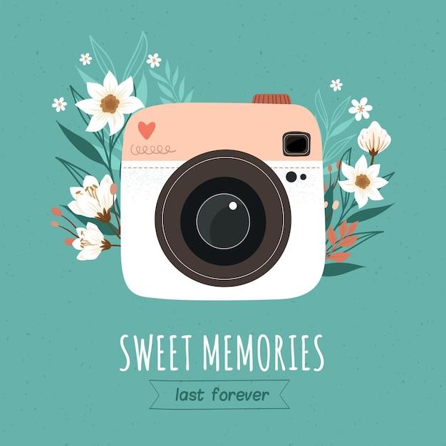 Weltfotografietag mit vintage-kamera Premium Vektoren