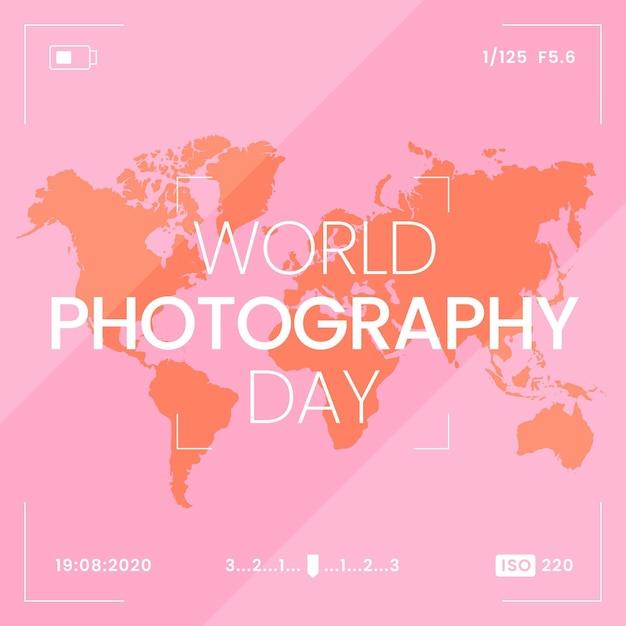 Weltfotografietag mit weltkarte Kostenlosen Vektoren