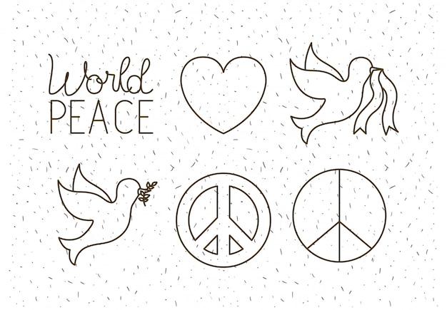 Weltfrieden stellen icons Premium Vektoren