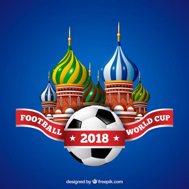 Weltfußballcuphintergrund mit ball in der realistischen art Kostenlosen Vektoren