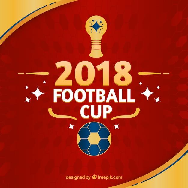 Weltfußballcuphintergrund mit goldenem Ball in der flachen Art Kostenlose Vektoren