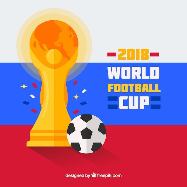 Weltfußballcuphintergrund mit trophäe in der flachen art Kostenlosen Vektoren