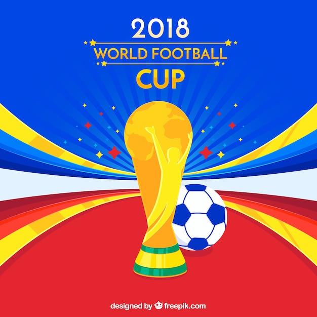 Weltfußballcuphintergrund mit trophäe Kostenlosen Vektoren