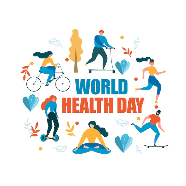 Weltgesundheitstag-gesunde tätigkeits-illustration Premium Vektoren