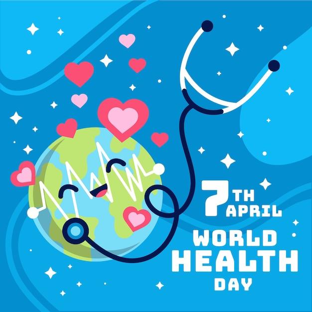 Weltgesundheitstag in flachem design Kostenlosen Vektoren