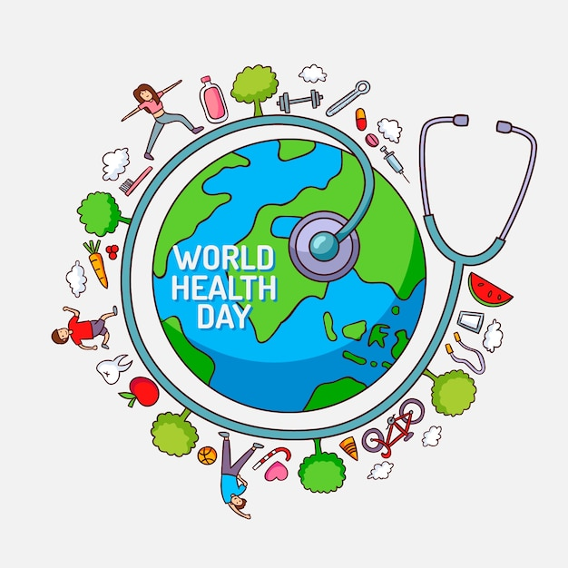 Weltgesundheitstag mit planeten und menschen Kostenlosen Vektoren