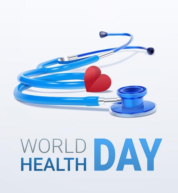 Weltgesundheitstagkarte mit herzen und stethoskop Premium Vektoren