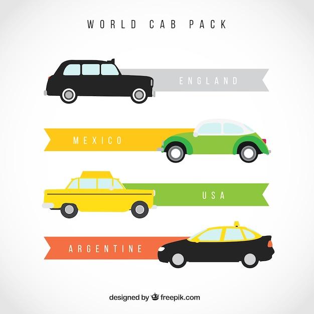 Weltkabinen packung Premium Vektoren