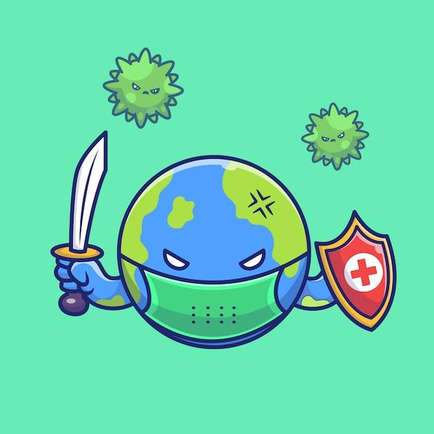 Weltkampf corona virus illustration. corona maskottchen zeichentrickfigur. weltkonzept isoliert Premium Vektoren