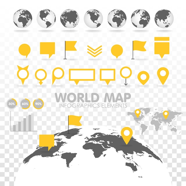 Weltkarte 3d mit satz infographics elementen. Premium Vektoren
