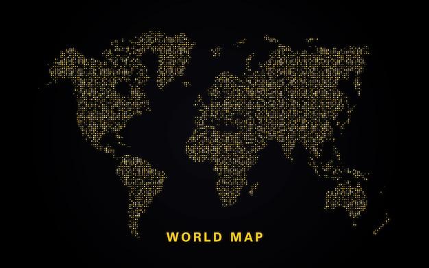 Weltkarte der goldenen glitzer Premium Vektoren