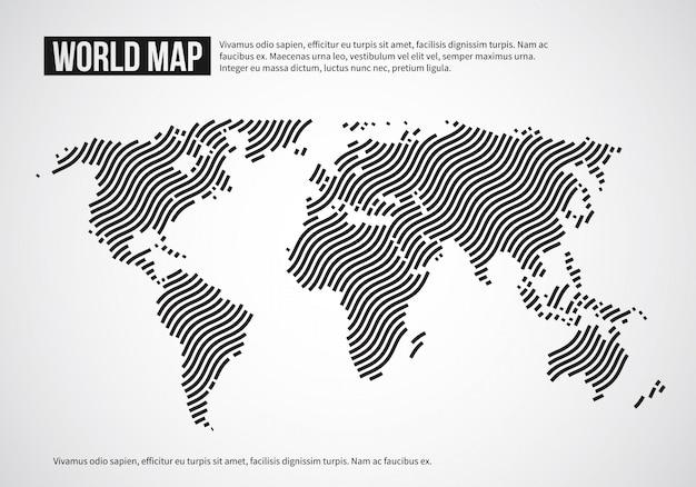 Weltkarte der wellenlinien. infographischer hintergrund der abstrakten kugelkontinenttopographie Premium Vektoren