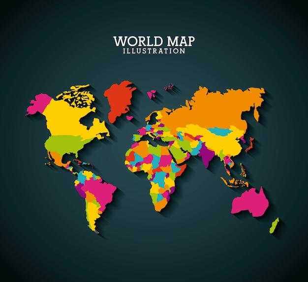 Weltkarte design Premium Vektoren