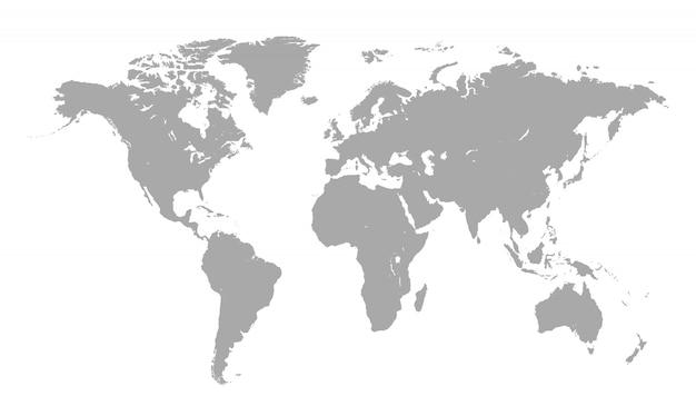 Weltkarte getrennt auf weiß Premium Vektoren