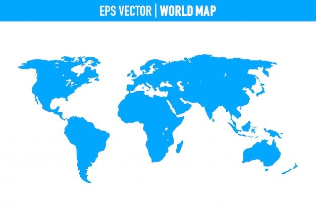 Weltkarte getrennt auf weißem hintergrund. flache erde, graue kartenvorlage für website. Premium Vektoren