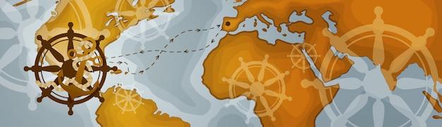 Weltkarte-horizontale fahnen-retro weinlese-art von kontinenten Premium Vektoren