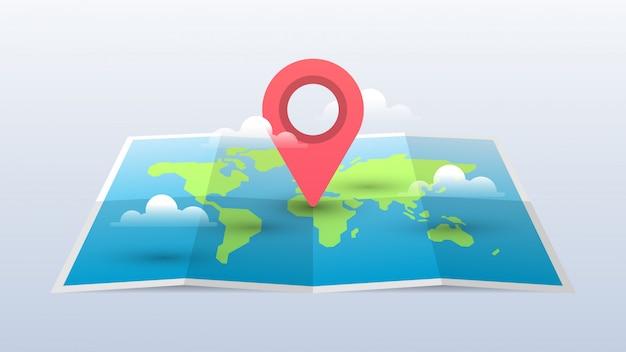 Weltkarte-illustration mit pin und wolken Premium Vektoren