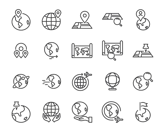 Weltkarte linie icon-set Premium Vektoren
