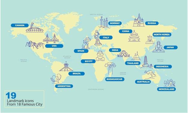 Weltkarte mit berühmten land wahrzeichen symbol Premium Vektoren