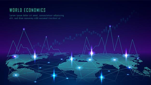 Weltkarte mit diagramm im futuristischen konzept Premium Vektoren