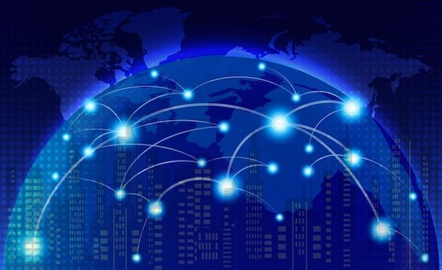 Weltkarte mit linien des sozialen netzwerks Premium Vektoren
