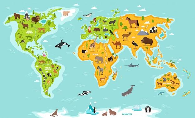 Weltkarte mit tieren und pflanzen der wild lebenden tiere. Premium Vektoren