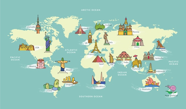 Weltkarte mit wahrzeichen des berühmten land symbol Premium Vektoren