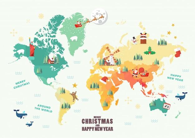 Weltkarte mit weihnachtselementen Premium Vektoren