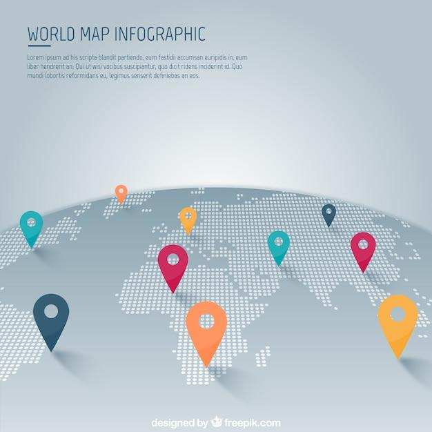 Weltkarte mit zeiger infografik Kostenlosen Vektoren