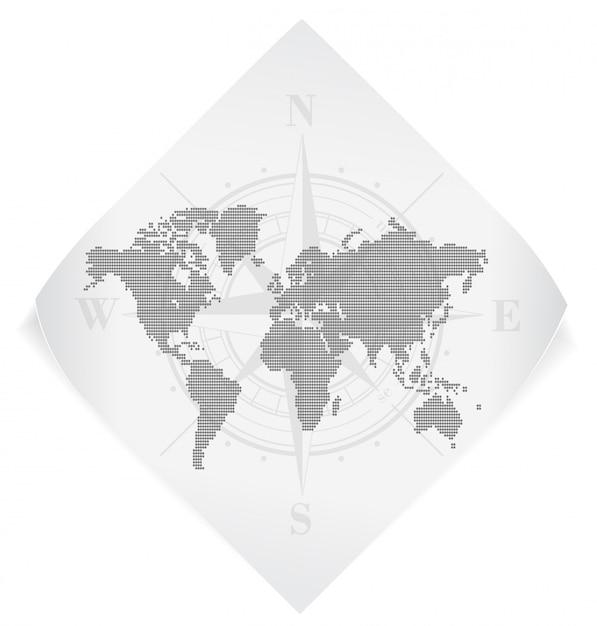 Weltkarte über dem weißbuchaufkleber lokalisiert auf weiß Premium Vektoren