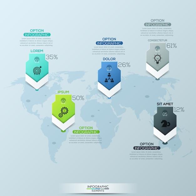 Weltkarte und 5 ortsmarkierungen mit überschriften Premium Vektoren