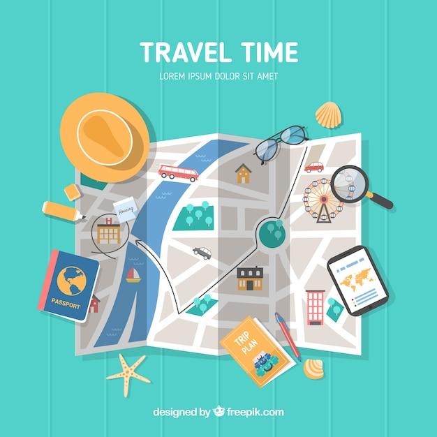 Weltkarte und reiseelemente mit flachem design Kostenlosen Vektoren