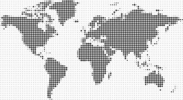 Weltkartenhalbton punktiert hintergrund Premium Vektoren