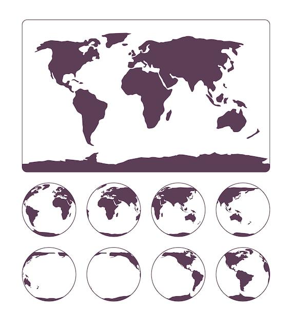 Weltkartenprojektion, die die oberfläche der erde und des globus zeigt Premium Vektoren