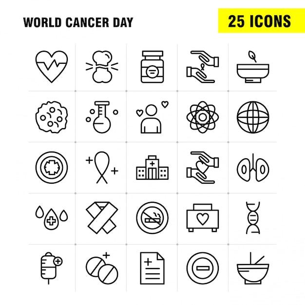 Weltkrebstag linie icons set für infografiken, mobile ux / ui kit Premium Vektoren