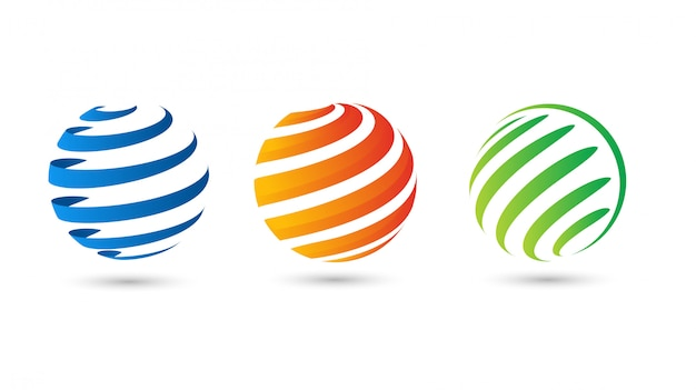 Weltkugel abstrakte moderne farbverlauf kreis logo vektor vorlage Premium Vektoren